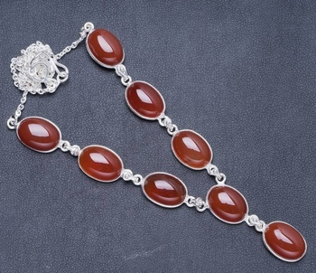 "Natural Carnelian Handmade Unique 925 Sterling Silver Necklace 18+0.75"" Y5404"