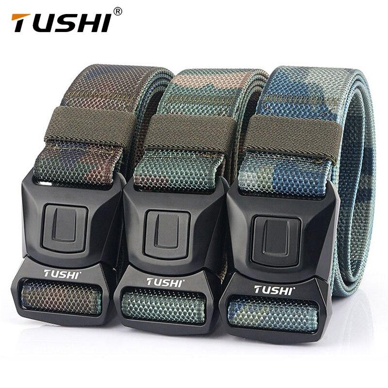 Тактический ремень TUSHI, оригинальный жесткий быстросъемный ремень из поликарбоната с магнитной пряжкой, военный ремень, мягкие спортивные ...