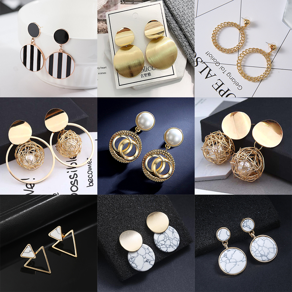 2020 New Fashion Stud Earrings For Women Golden Color Round Ball Geometric Earrings For Party Wedding Gift Wholesale Ear Jewelry 1