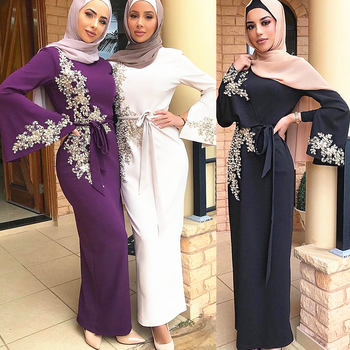Fashion Long Women Abaya Dubai 2020 Turkey Muslim Hijab Dress Luxury Kaftan Moroccan Islamic Dress With Pearl Appliques Bow Sash pearl beading bell sleeve hijab long dress