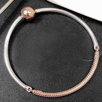 New 925 Sterling Silver Bangle Rose Ball Circular Clasp Three link Bracelet Bangle Fit Women Bead Charm Diy Europe Jewelry