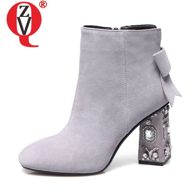ZVQ Leather Crystal Shoes 8.5cm Super High Heels women's Booties 2019 Autumn Winter Cow Suede Gray Black Cute Bowtie Ankle Boots