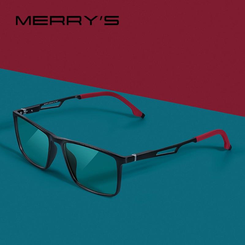 MERRYS-gafas con diseño de rayo de luz azul para hombre, anteojos con bloqueo UV400, para ordenador, patas de aluminio con Temple de silicona S2270