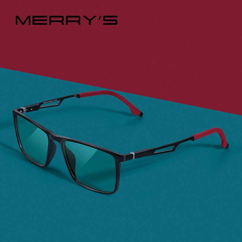 MERRYS tasarım erkekler Anti mavi ışın ışık engelleme gözlük UV400 gözlük bilgisayar için alüminyum bacaklar ile silikon tapınak S2270