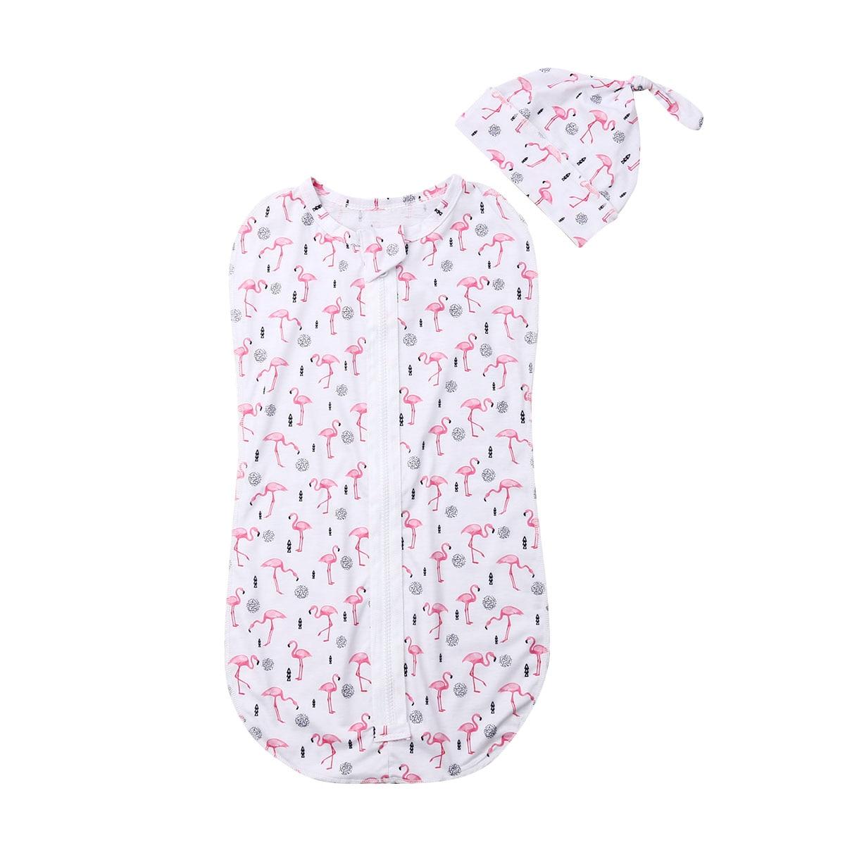2PCS Soft Baby Sleeping Bags Cotton Swaddle Cartoon Blanket Newborn Zipper Wrap Swaddling Blanket 0-6M