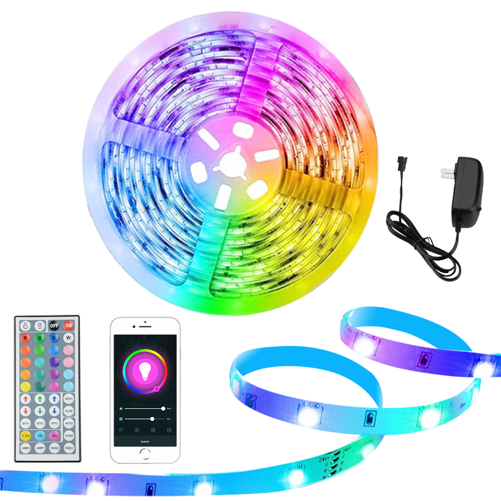 Led Strip 12V 24V Bluetooth LED Strip Light RGB 5050SMD Flexible Ribbon 5M 10M 15M 20M Tape Smart Christmas Lights Decoration
