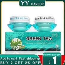 Wholesale whitening Nourishing anti-freckle set natural activity green tea day cream+night cream green tea
