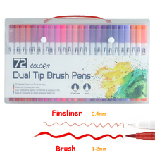 72 PCS Colors Dual Tip Brush Marker Pens Pastel Watercolor Pen Fineliner Art Supplies for Drawing Coloring Books Stationery