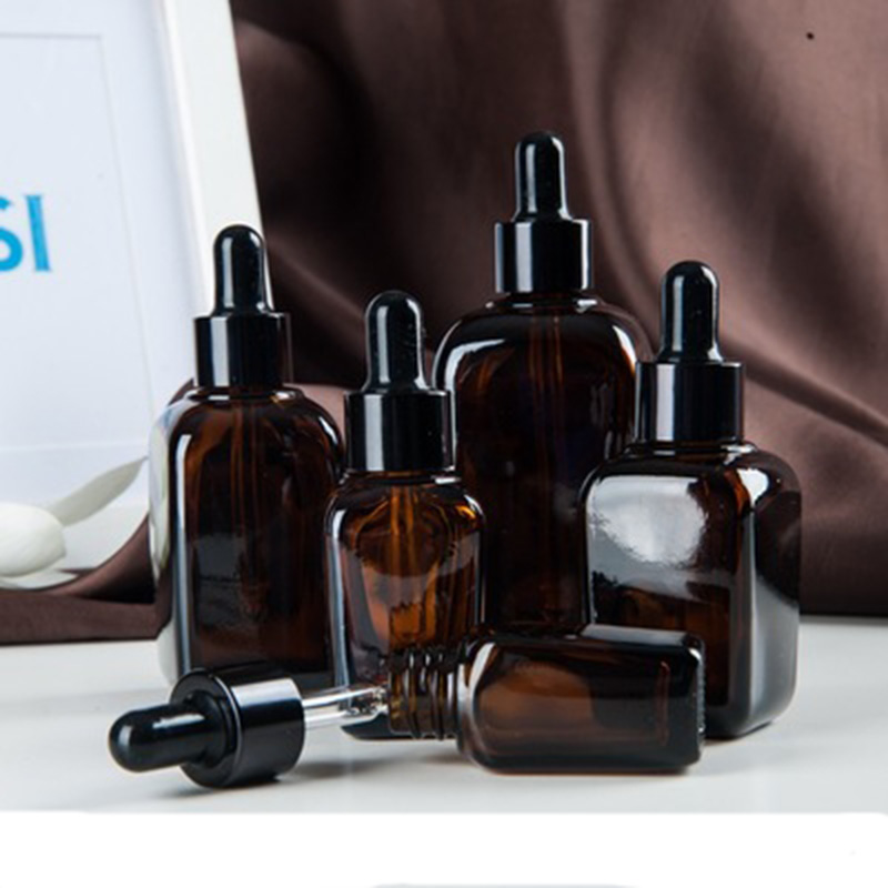 6pcs 10ml20ml30ml50ml100ml Square Glass Dropper Bottle With Eye Pipette Empty Amber Aromatherapy Essential Oils Bottle Container