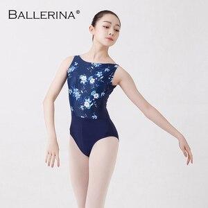 Image 1 - Collant de balé feminino dancewear treinamento profissional ginástica impressão digital aberto volta sexy collant bailarina 2507