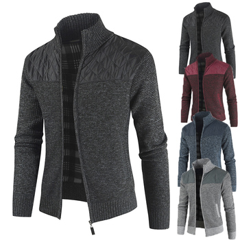 MarKyi 2020 Winter Thick Patchwork Cardigan Men Slim Fit Knitwear Casual Sweater Coat For Stand Collar
