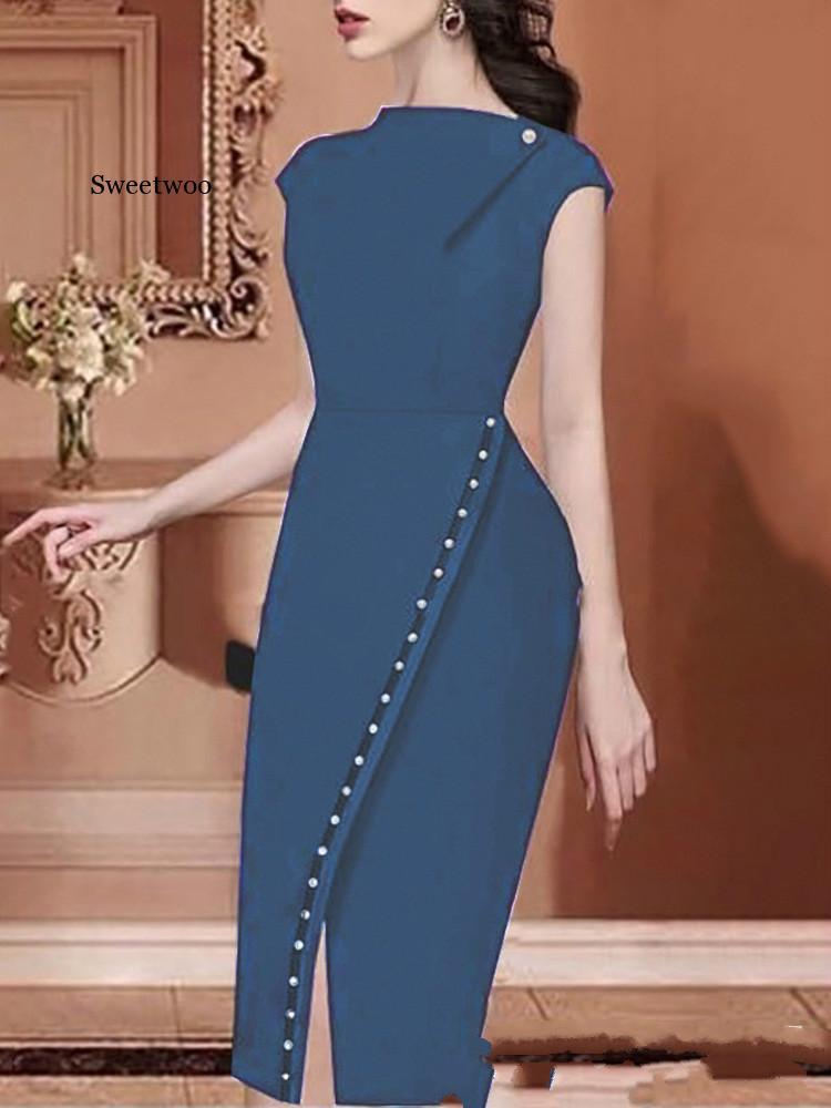 Купить женское элегантное платье на пуговицах украшенное бисером офисный