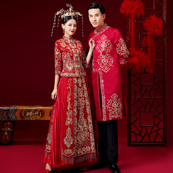 Vestido de boda de estilo chino para amantes del bordado, ropa Oriental de alta calidad, Choengsam Qipao, regalo de matrimonio exquisito