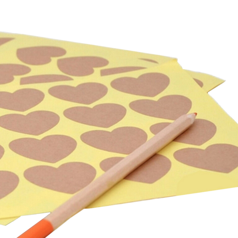120pcs/10 sheet Heart Shape Kraft Paper Adhesive Label  Sticker Seal Labels, Candy Biscuits Dessert Bags Envelope Packaging-1