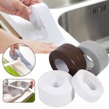 Para a cozinha pia do chuveiro do banheiro fita de vedação tira caulk auto adesivo parede dwaterproof pia borda fita