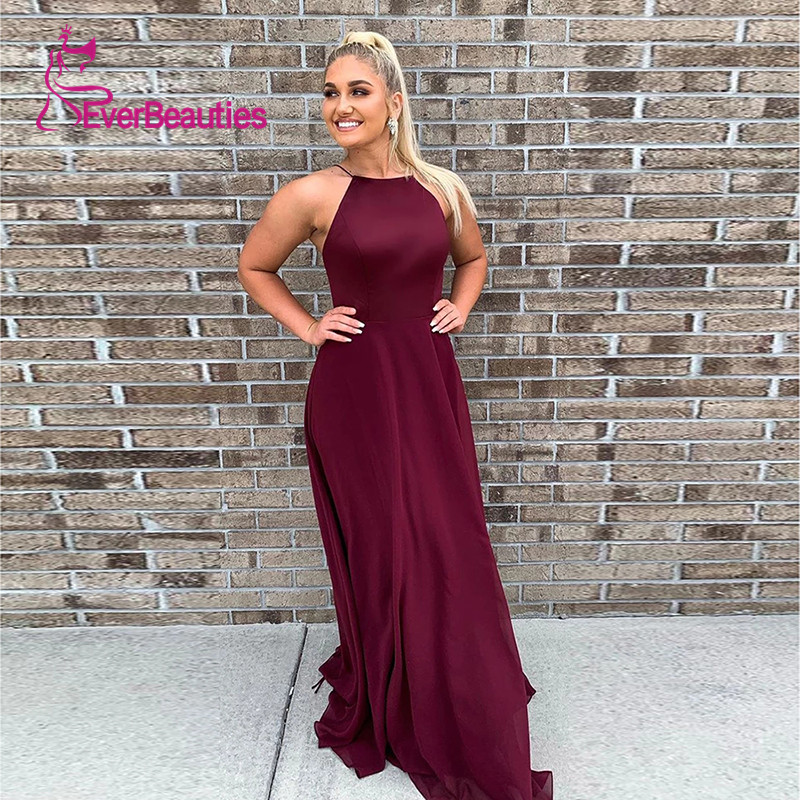 Wine Red   Evening     Dress   2019 Spaghetti Strap Long Halter   Dress   Party Vestido Longo Vestidos De Fiesta Satin Robe De Soiree