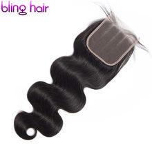 Bling cabelo 4x4 fechamento do laço onda do corpo brasileiro 100% fechamento do cabelo humano com o cabelo do bebê livre/meio/três parte remy cor natural