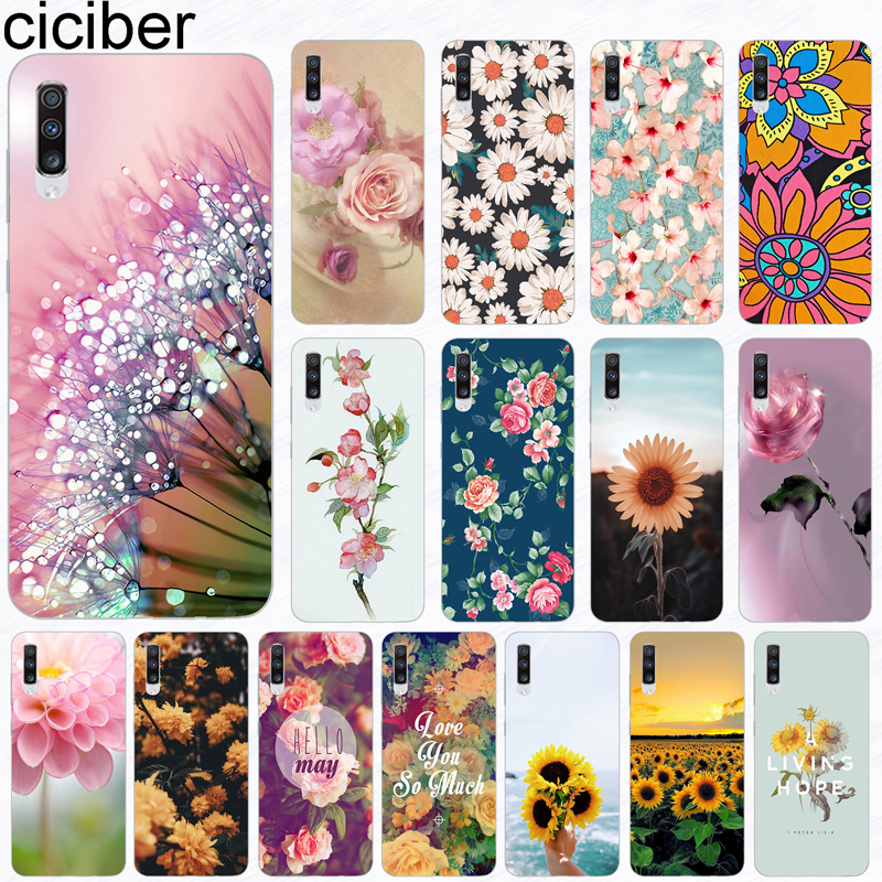 Ciciber Phone Case For Samsung Galaxy A50 A70 A80 A40 A30 A20 A60 A10 A20e Soft Silicone TPU Girl Flower Sunflower Cover Fundas