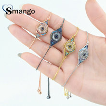 Wholesale Copper Micro Pave CZ Eyes Shape Charm Bracelet In 4Colors Top Quality Plating of 5PCS,B0039