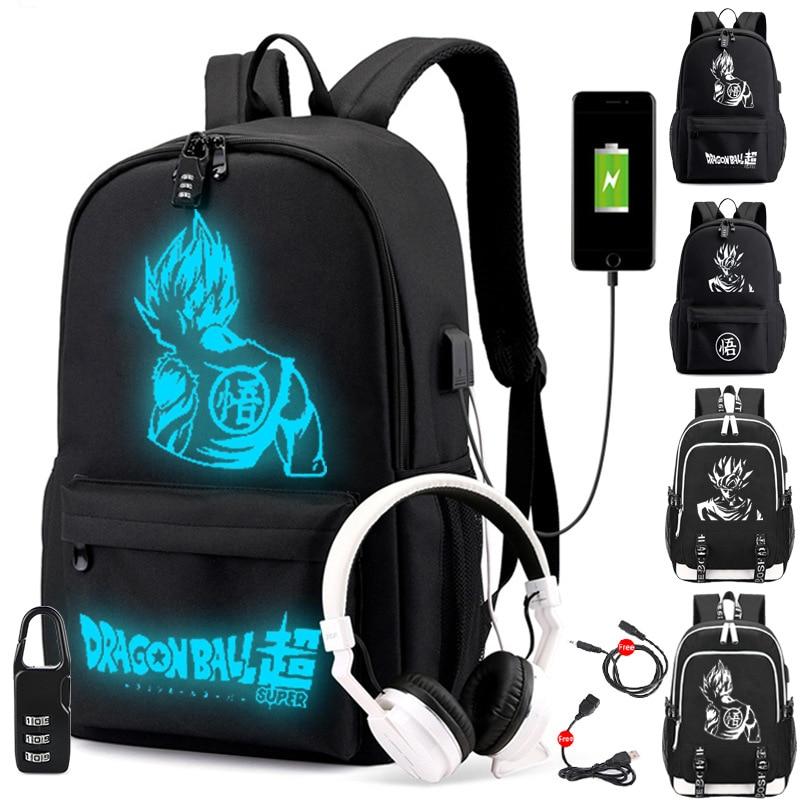 Anime Luminous School Bag Dragon Ball Z Backpack Super Saiyan Goku Knapsack Black Backpacks Travel Laptop Bagpack For Teenage