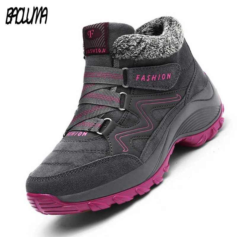 Winter Women's Snow Boots Leather Women Warm Thick Plush Snow Boots Waterproof Female Wedge Suede Boots Non Slip Lady Shoes