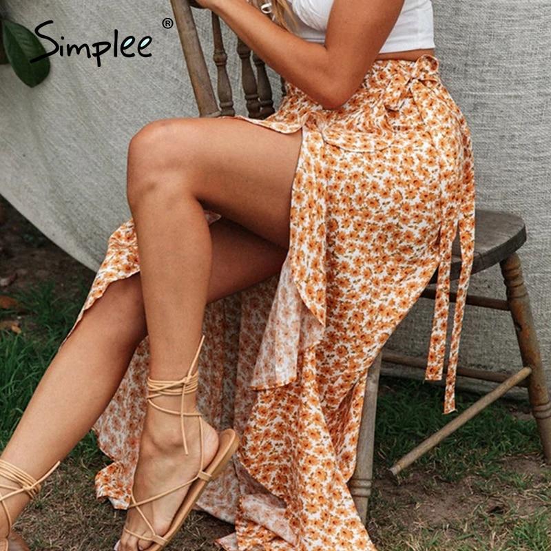 Simplee Sexy High Split Summer Skirt Women Ruffled High Waist Floral Print Female Midi Skirt Vintage Beach Wear Ladies Skirt