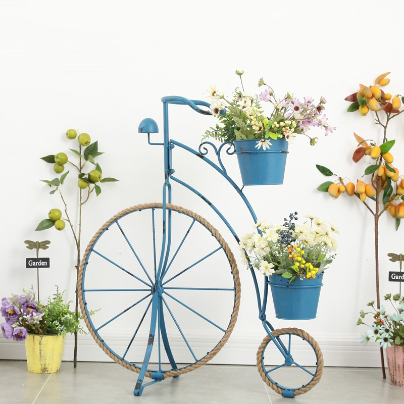 Frame Flower-Stand Garden Outdoor Rope Country Bicycle-Shape Balcony Patio Hemp Retro