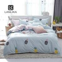 Lanlika Set biancheria da letto nordico lenzuolo con angoli ananas elastico coprimaterasso angoli famiglia doppio adulto bambino taglia unica