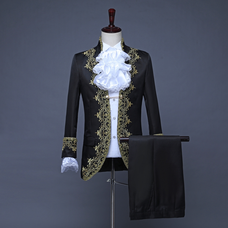 Male Suits England Style Formal Court Dresses Costumes Prom Teams Chorus Stage Costume Wedding Host Men Party Show Outfit DT1376 - 3