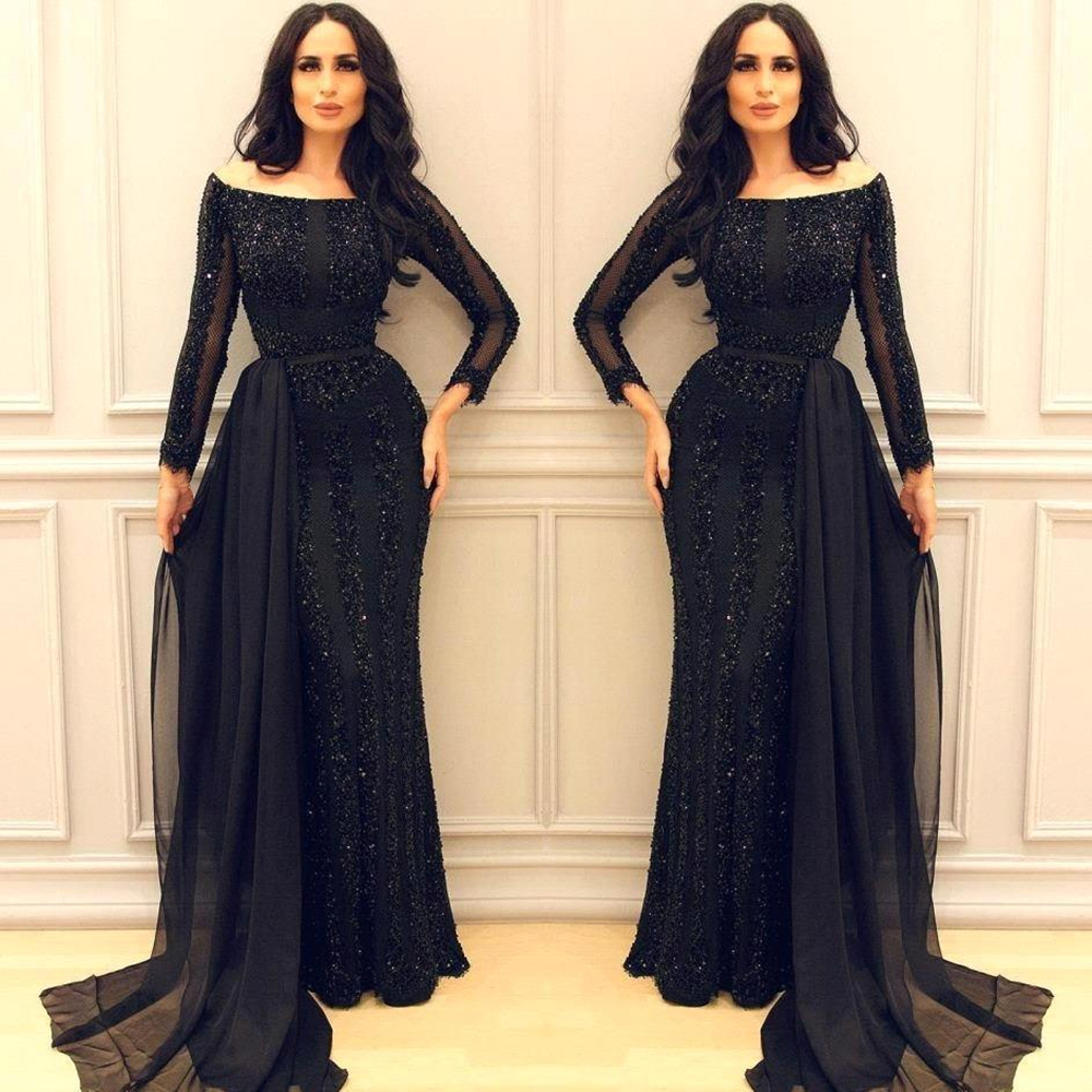Sparkly Black Mother Of The Bride Dress Long Sleeve Chiffon Train Modest Design Mermaid Formal Evening Gown Party Customize
