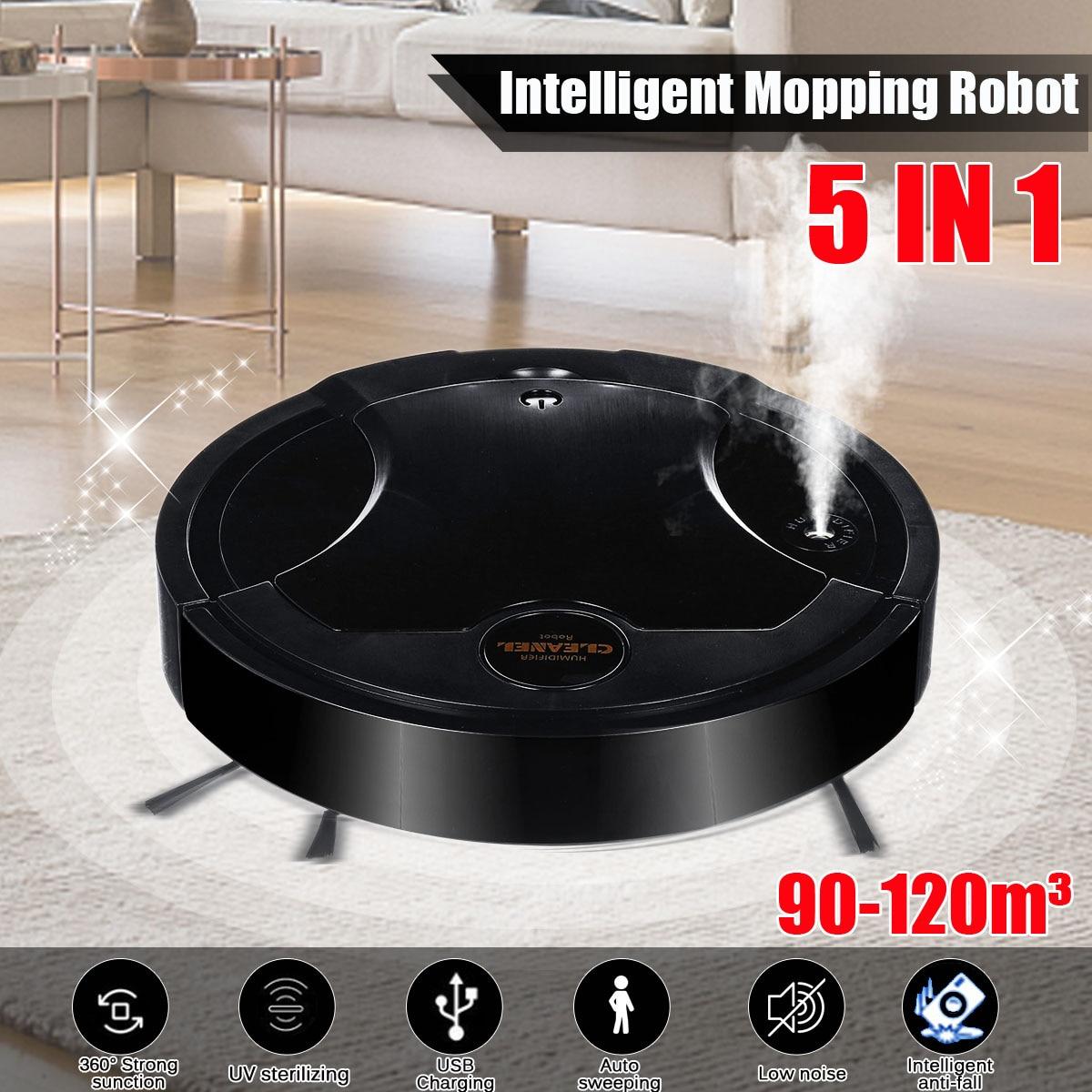 50 Вт 5-в-1 интеллигентая (ый) робот для уборки хозяйственный спрей ультрафиолетового зарядка подметальная пылесосить уборка