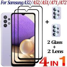 Cristal Templado Samsung Galaxy A32,A52 A51 Protector de pantalla Galaxy A32 A71 A72 Screen Protector 360 Cobertura Completa Película Frontal vidrio Samsung A 32 Screen Protector A 52 4G/5G Glass