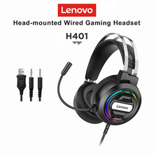 Lenovo Gaming Headset over-ear Wired Game Headphones Surround Sound USB Deep bass Stereo with Microphone for PC Laptop Gamer cheap NONE Balanced Armature CN(Origin) 25dB for Video Game Line Type up to 32 Ω H401 Sealed Fabric 20Ω 20 - 200000Hz CABLE