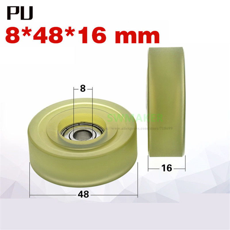 1pcs 8*48*16mm PU-coated roller/ flat pulley, 608Z bearing soft rubber wheel, mute
