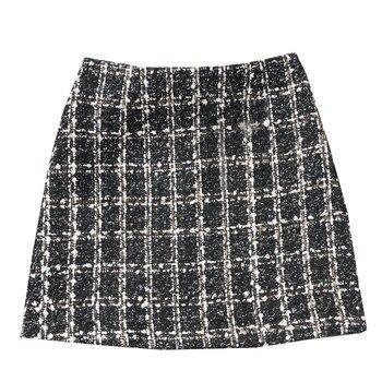 Falda de Tweed negro 2019 Otoño Invierno mujeres coreano elegante Plaid Jupe Femme Cute Bottoms for Ladies una línea Mini faldas cortas