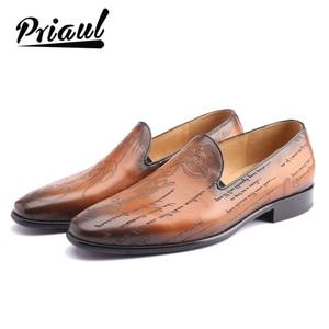 Image 1 - Zapatos de cuero hechos a mano para hombre, calzado informal de marca de lujo, para oficina, boda, fiesta, 2020