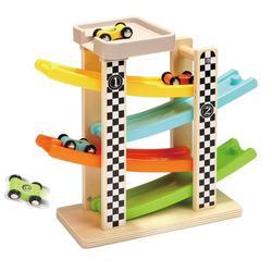 Деревянная дорожка, игрушки для легковых автомобилей, гонки, 4 слоя, слайдер, слот для лестницы, игровой набор для детей, поворот назад, рампа,...