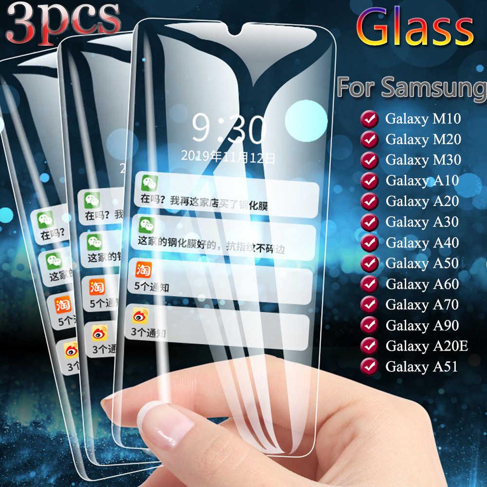 3 قطعة الزجاج المقسى لسامسونج غالاكسي M10 M20 M30 شاشة حامي ل غالاكسي A10 A20 A30 A40 A50 A60 A70 A90 A20E A51 فيلم
