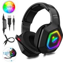 ONIKUAM K10 RVB LED Casque De Jeu Pour PC Xbox PS4 PS5 Sur L'oreille Casque Gamer Avec Microphone Antibruit Ordinateur Téléphone