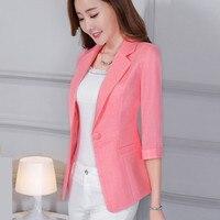 Women Autumn Spring Business Blazer Female Work Office Lady Suit Three Quarter Sleeve Jacket Cotton Linen Blazer Plus Size 5XL