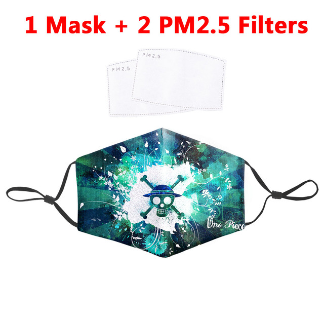 One Piece Printed Masks Fabric Protective PM 2.5 Filter Dust Mouth Cover Proof Flu Anime Mask Reusable Washable Mouth Mask