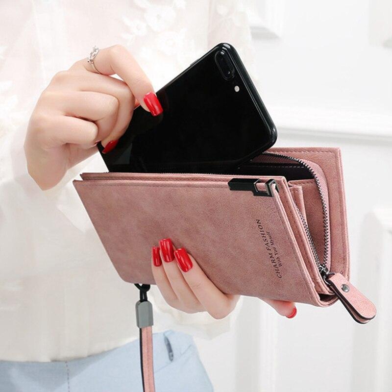 Женские кошельки, модные дамские сумочки с ремешком на запястье, длинная Сумочка для денег, кошелек для монет на молнии, держатель для карт и удостоверения личности, клатч, Женский кошелек, чехол для заметок|Кошельки| | АлиЭкспресс