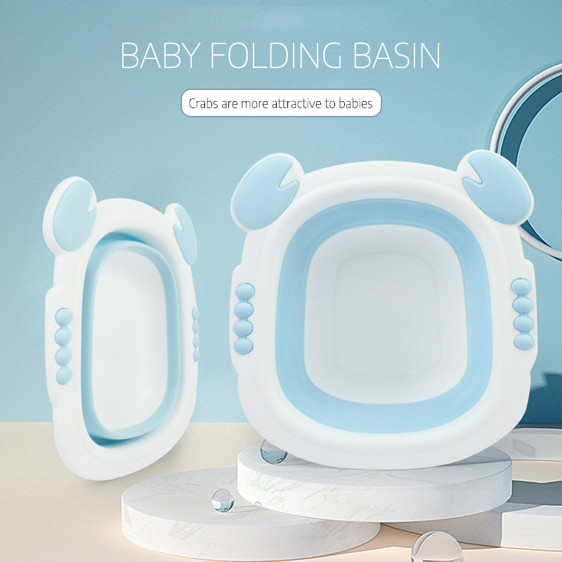 Foldable Baby Bath Tub Folding Basin Silicone Bathtub Portable Children Washing Face Foot Tubs Collapsible Thicken Washbasin