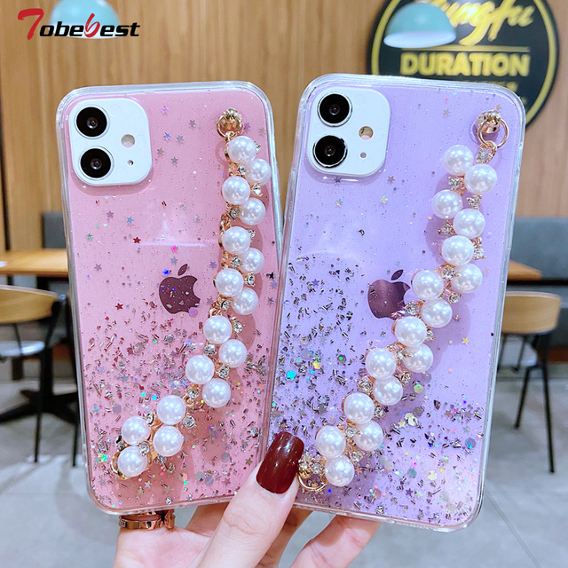 Shiny Glitter Pearl Bracelet Chain Case for Samsung Galaxy A12 A32 A42 A52 A72 A22 A82 4G 5G Coque Soft Silicone Cover