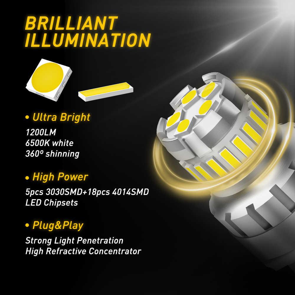 AUXITO 2x7443 7444 T20 W21/5 W LED światło dla Lada Kalina Granta Vesta DRL żarówki LED 12V 6500K biały Super jasny 3030 4014 SMD