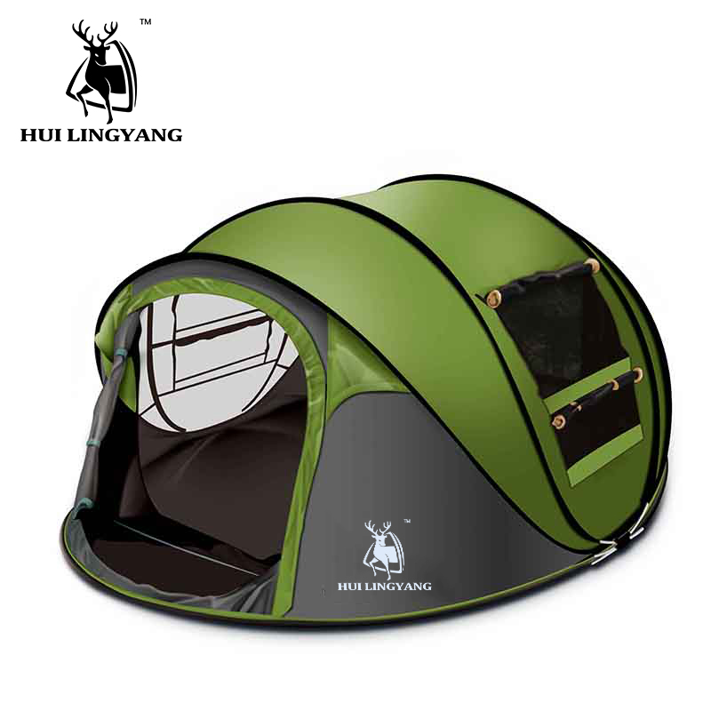 HUILINGYANG camping tent Large space3-4persons automatic speed open throwing pop up windproof camping family tent image
