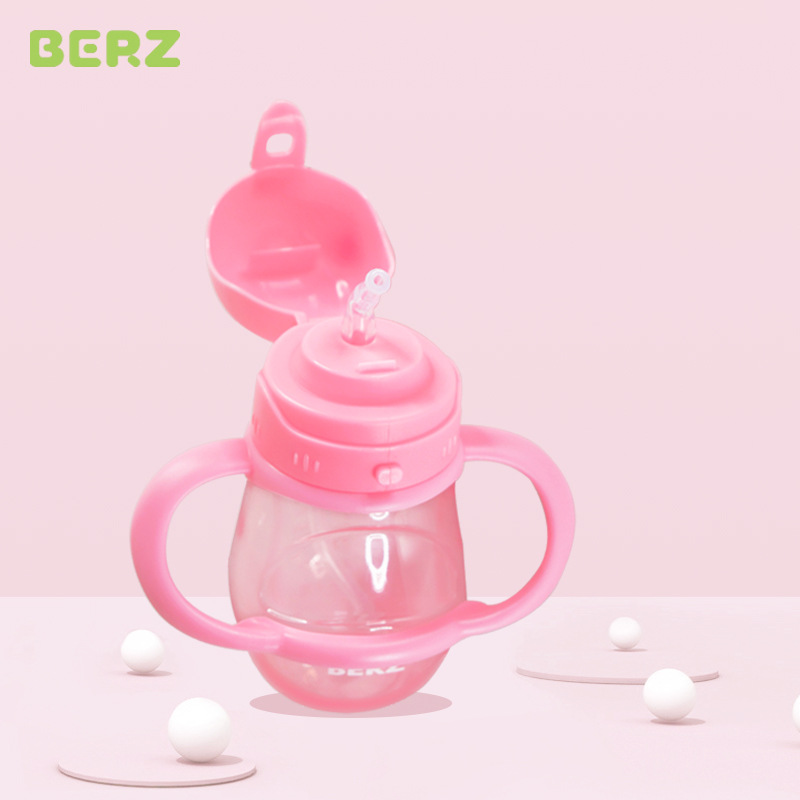Berz BERZ CHILDREN'S Cups Household Infant Men And Women Drink Glass Sub-Shatter-resistant Sippy Cup Baby Cup With Straw Creativ
