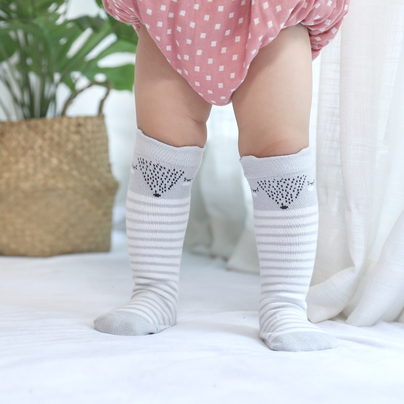 Cute Baby Cartoon Sock Girls Tiny Newborn Knitted Cotton Blend Knee Socks Non-Slip FJ88