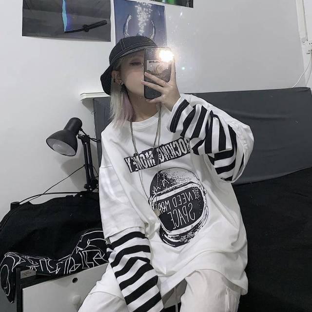 Spring Autumn female  Casual O-Neck stripe Tees harajuku Loose hoodie Women Long Sleeve Oversize top Hip Hop Sweatshirt ins 3