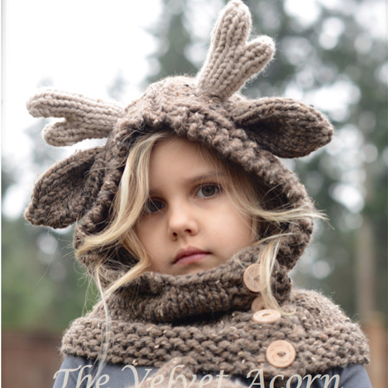 Autumn Winter Maylisacc Cute 4 8 Years Old Children Acrylic Knitted Hat Scarf Gloves 3 Pcs Set Animal Elk Cap Crochet Neck Glove in Scarf Hat Glove Sets from Mother Kids